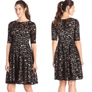 Adrianna Papell Black Allover Lace Dress